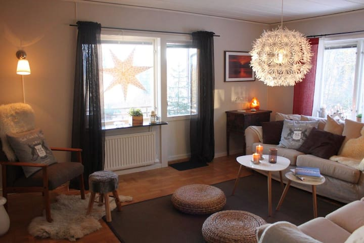 Vardagsrummet med sin sköna soffgrupp (varav en bäddsoffa)