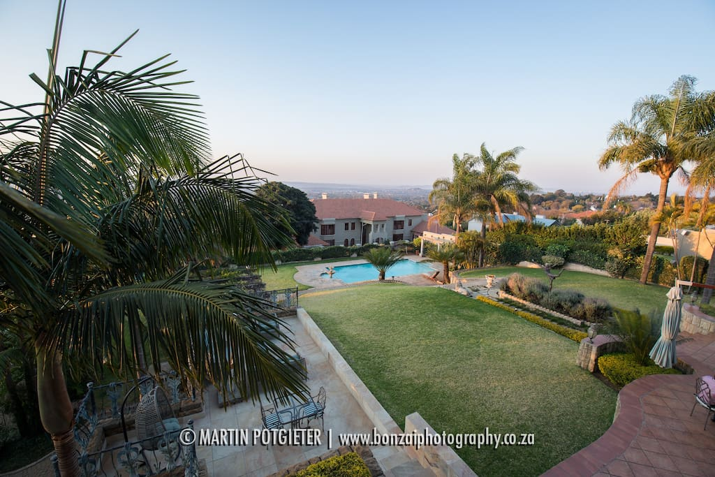 Back view of Villa Sterne, over looking the whole of Pretoria. You can see our swimming pool (11m in length, 4 metres wide)