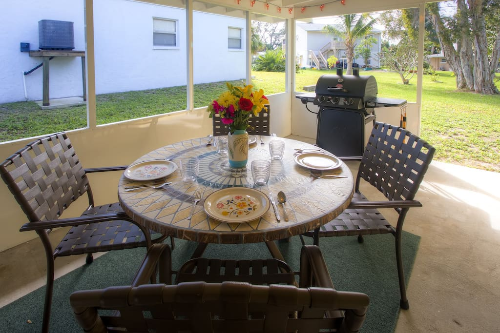 Dine al fresco on the vacation rental's covered patio!