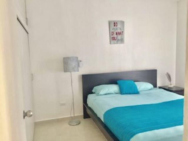 Cuarto principal con cama King size, closets y Aire Acondicionado. Main bedroom with king size bed, closets and AC unit