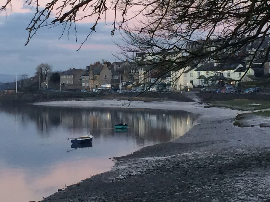 Arnside Village from the estuary.