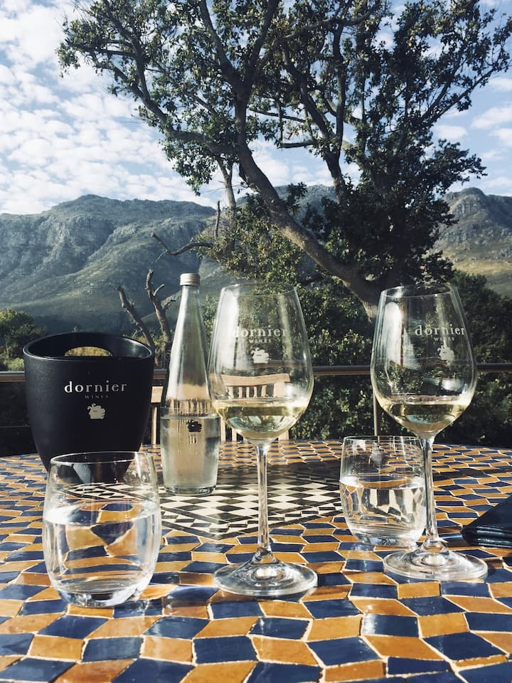 Tasting a variety of white and red wines