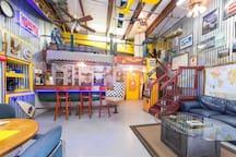 ManCave apartment/ airplane hangar.