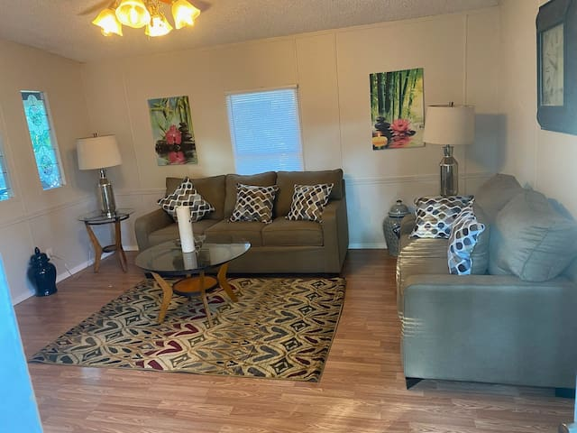 Coozy.  Living room has full size sleeper comfort for your gome away from home!