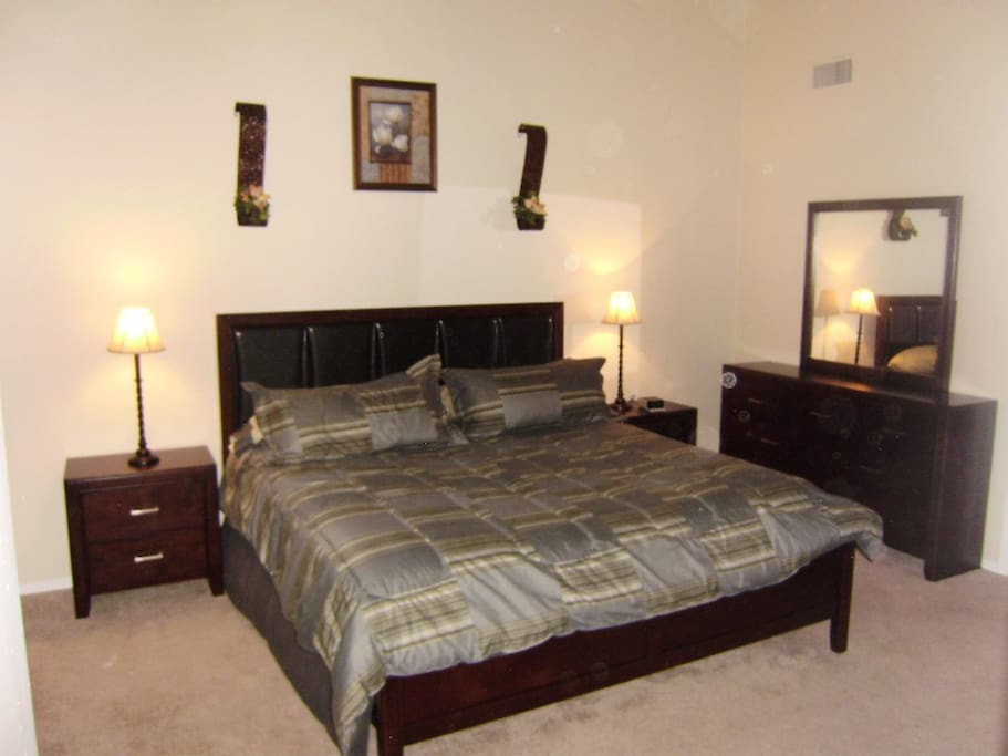 King Size bed in the Master Bedroom