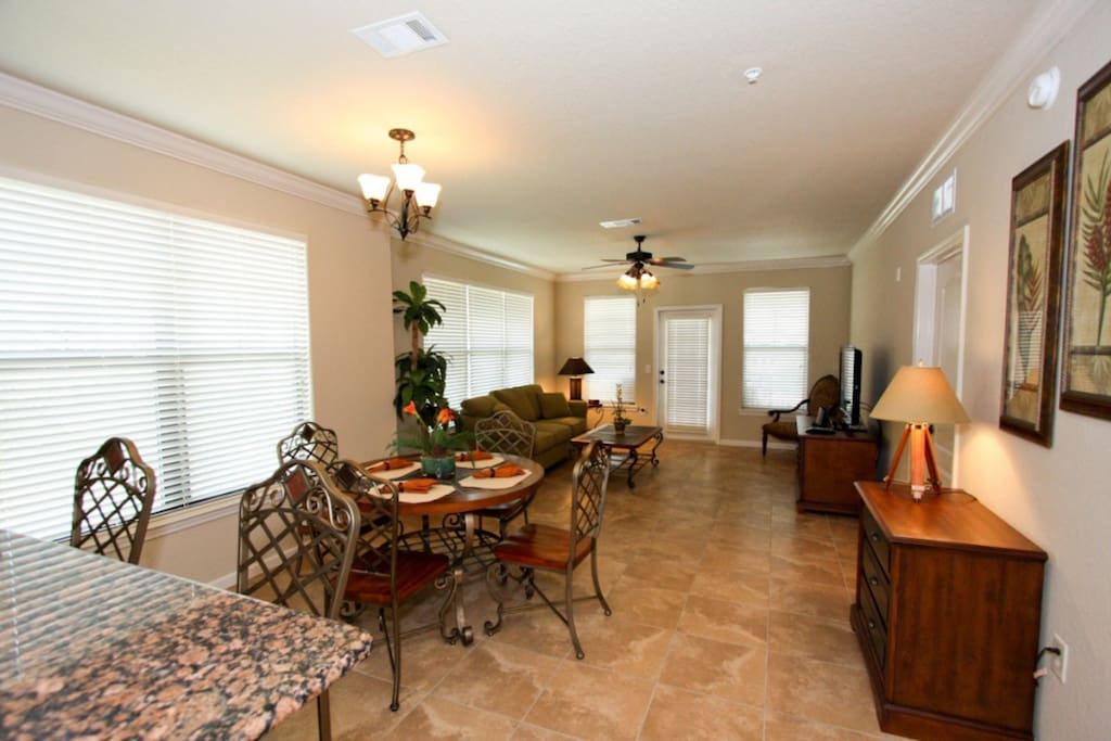 Open Dining Area, Living Area and Kitchen Area - View #2