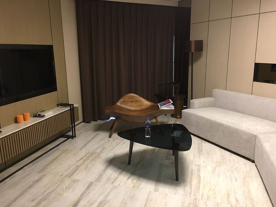 """A 55"""" Samsung HD flat equipped, customized furniture, sofa, nice indoor decoration."""