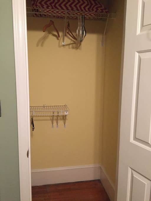 Good sized closet with hangers