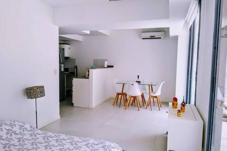 Monoambiente amplio y luminoso minimalista