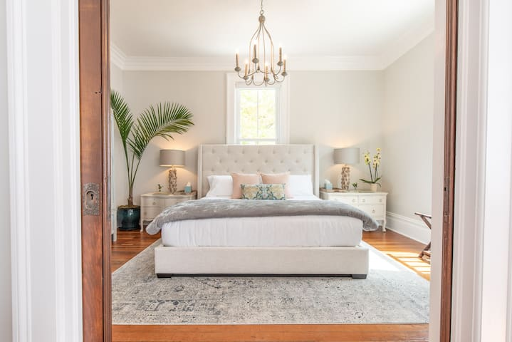 Bedroom with King size bed and original Pocket doors