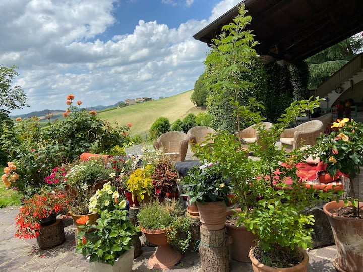 Country House sitting on the hill in Monferrato