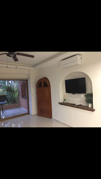 Front door, tv, back patio sliding glass door with sliding screen door