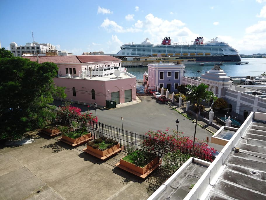 View of of Cruise Ships from balcony.