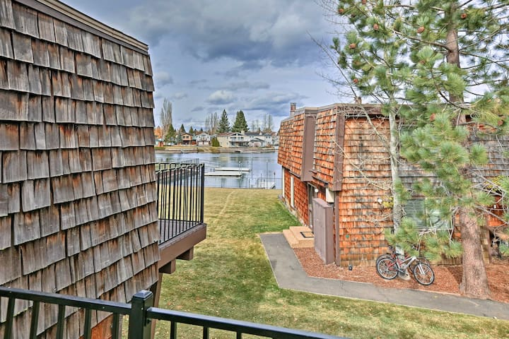 You'll be steps from a lake beach and your private dock!