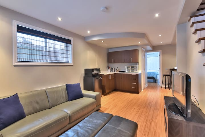 Close to river cozy modern garden level apartment