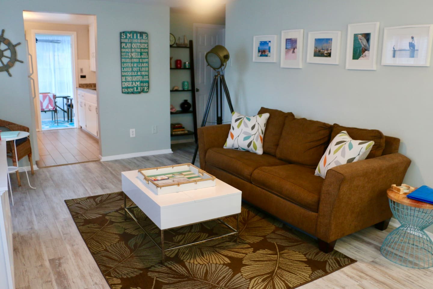 Living area with pull out couch for additional sleep space.