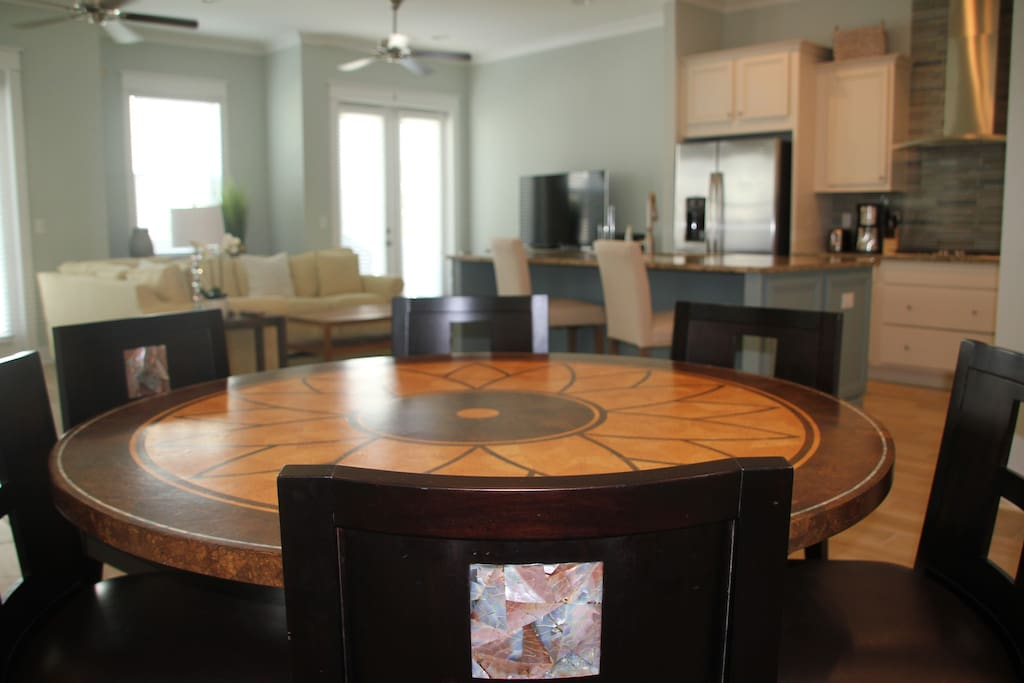 Dining Table for 6 plus Kitchen Island Seats 3