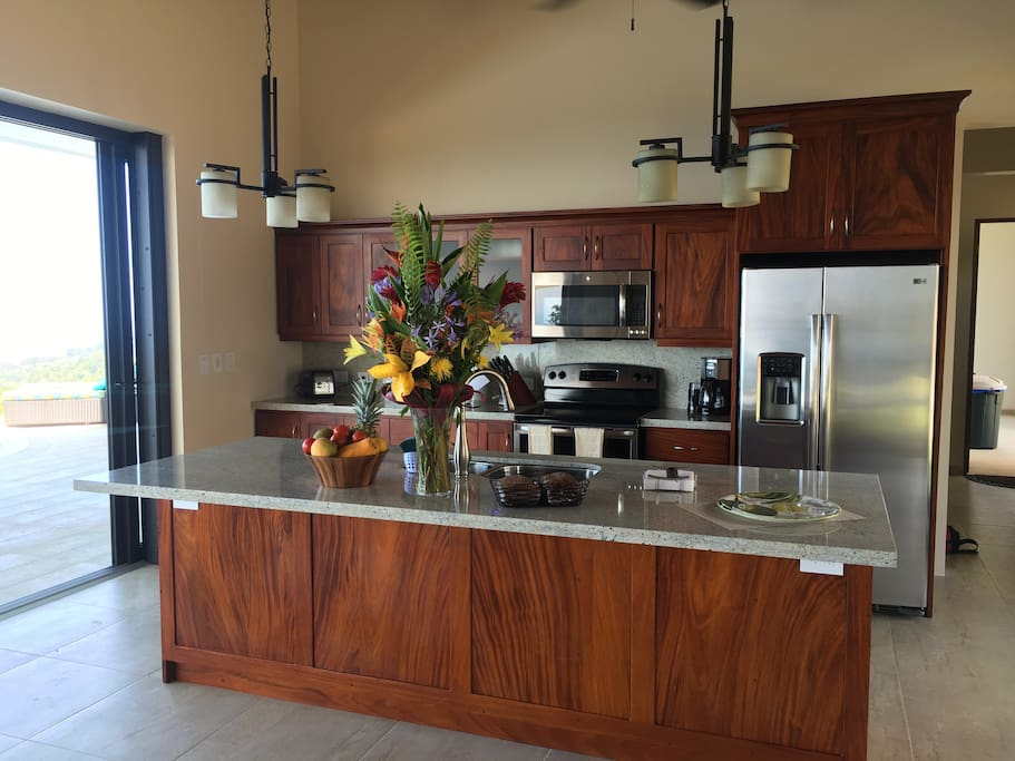 Gourmet appointed kitchen with island that seats 4 (stools not shown)
