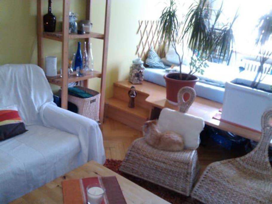 Obývák + stupínek s ložnicí