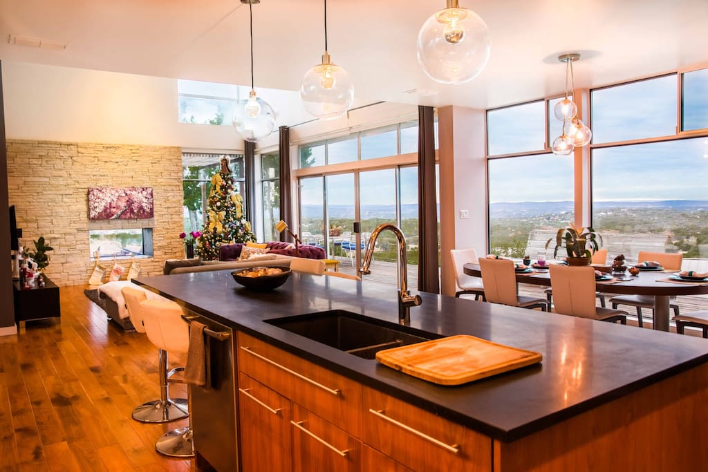 Kitchen with panorama views