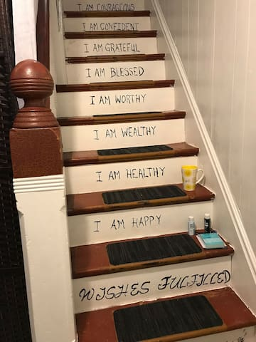 I painted affirmations going up the stairs to your room! Read them slowly and know YOU ARE!