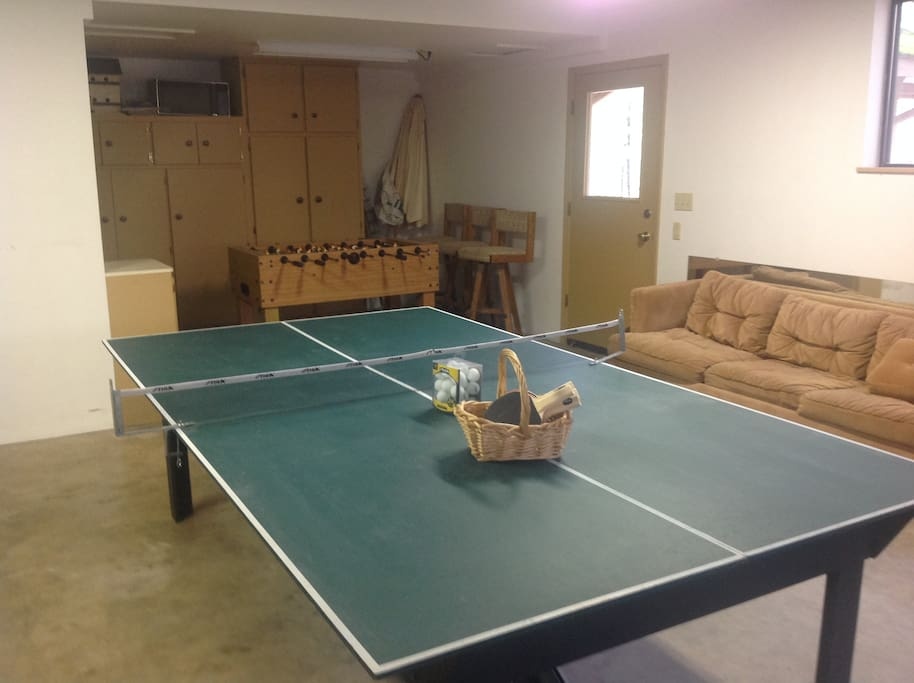 Nice Ping-Pong table and not as nice Foosball table in background