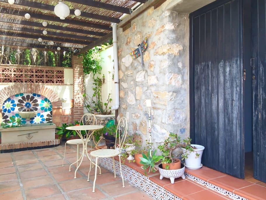 Apartment double wooden door entrance & terrace