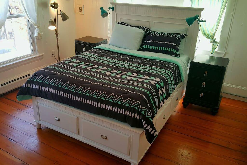Queen platform bed.
