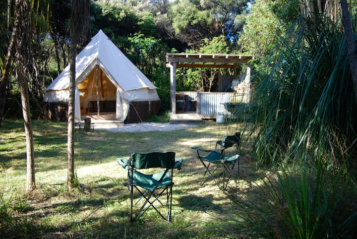 Boutique beachfront glamping tent