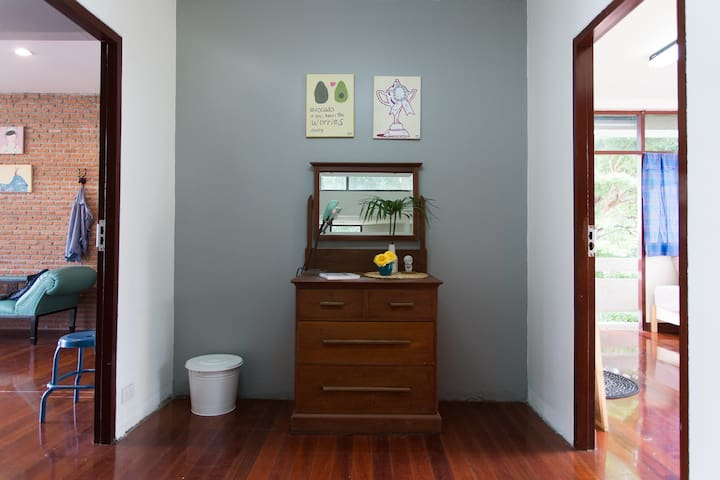 Private room for 3 person with big garden.
