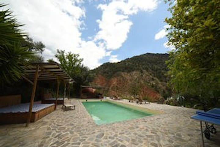 The pool area: Salt water low cholrine pool, shaded pool beds, ping pong, and wood fired Sauna in the background all looking out over the secluded ancient valley below.
