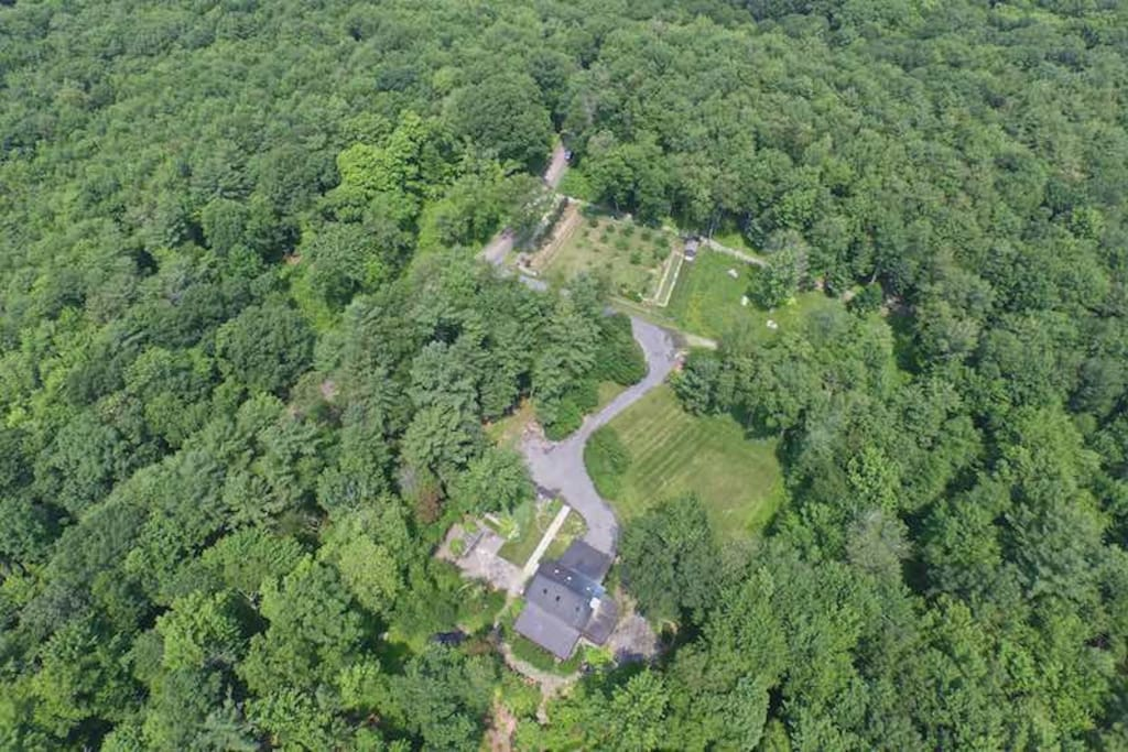 Ariel view of the house and 92 acres of the property.