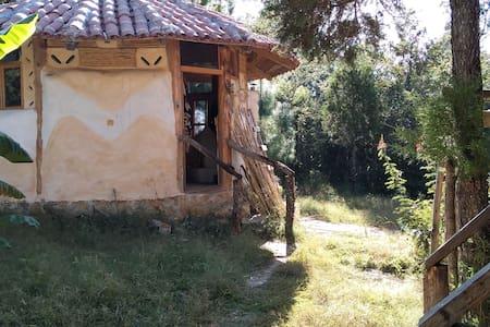 Cabañas de adobe en el bosque de Teopisca