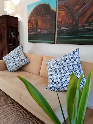 The long & very comfortable lounge  in the 2nd bedroom, is the perfect place for reading, relaxing or having that holiday afternoon siesta.