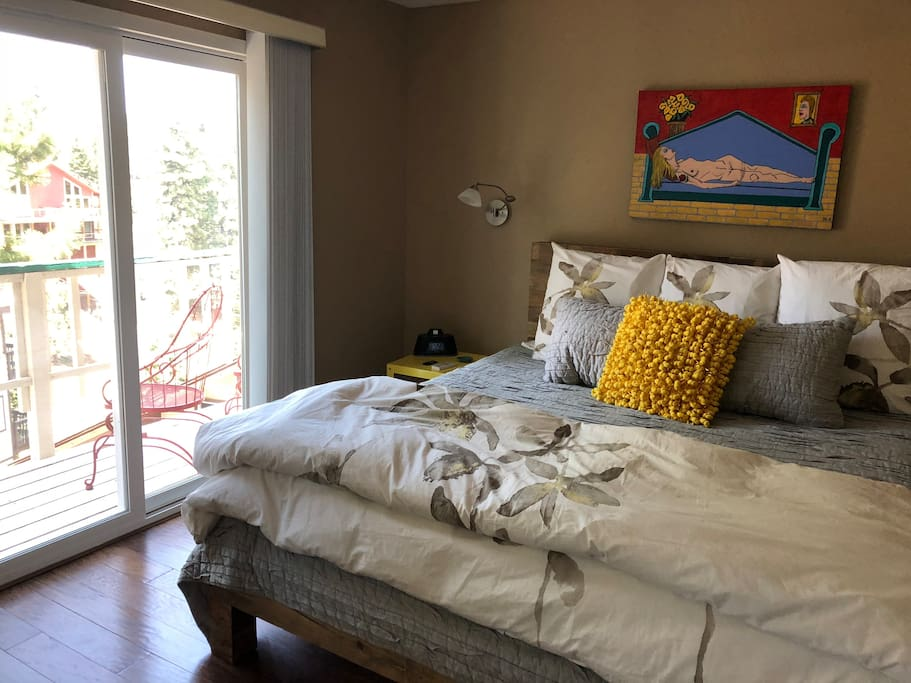Master bedroom with a king sized heavenly brand bed - seriously