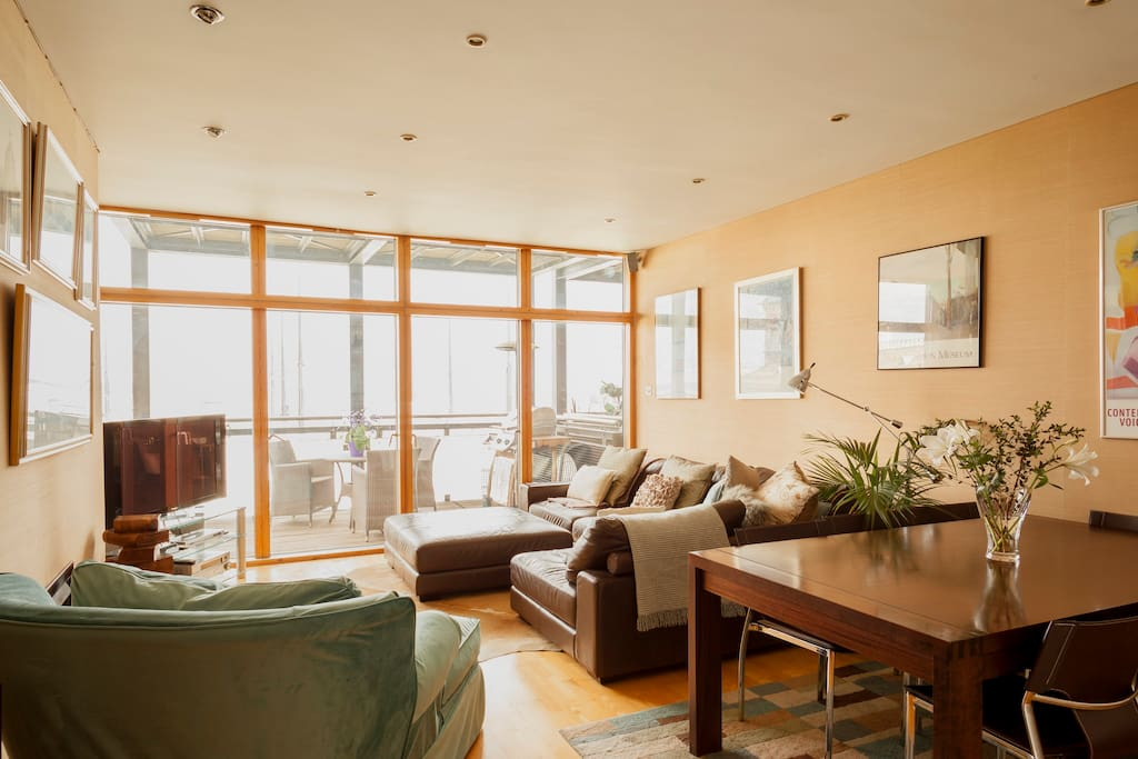 The Living Space with a view of Dublin bay