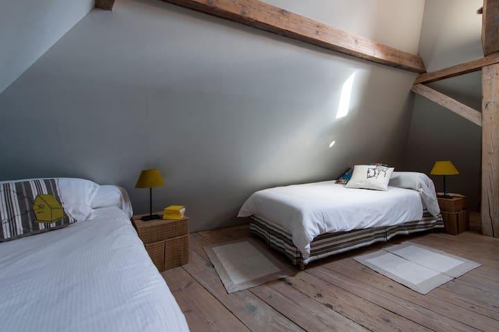 Chambre 2 personnes : 2 X lit simple (90X200). Possibilité de créer un lit double.  1 fenêtre de toit coté cour.