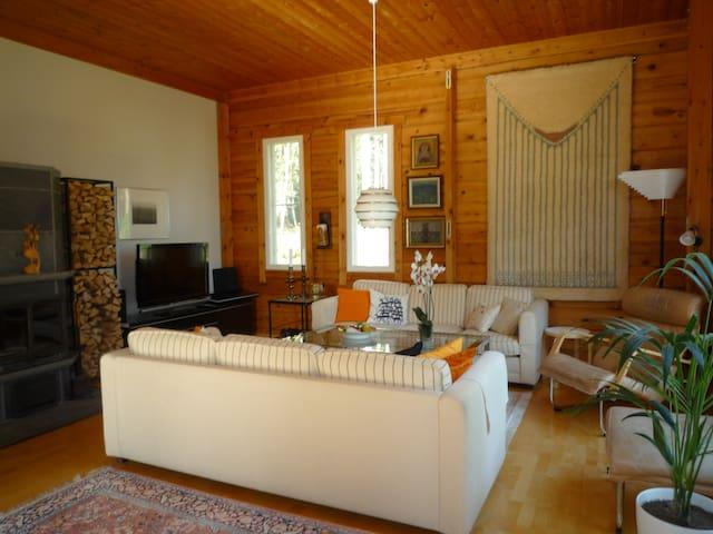 Olohuoneessa takka ja TV, radio, vieraat voivat oleskella olohuoneessa
