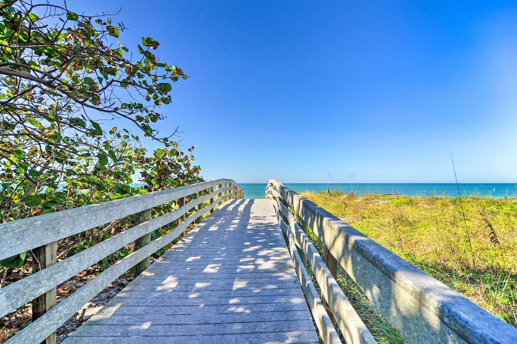 The home is just a short walk from the sandy shore!