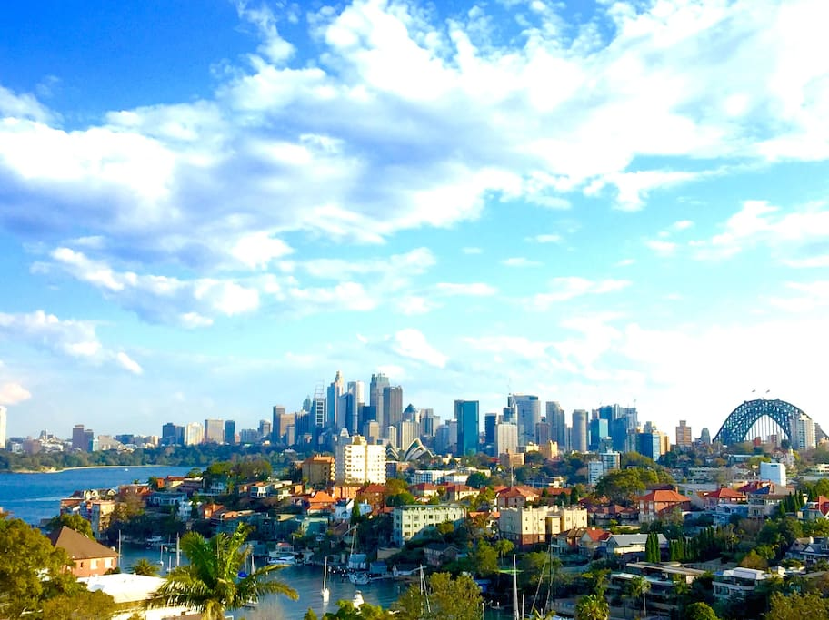Stunning views across Sydney harbour to The Sydney Opera House and Harbour Bridge. Actual view.