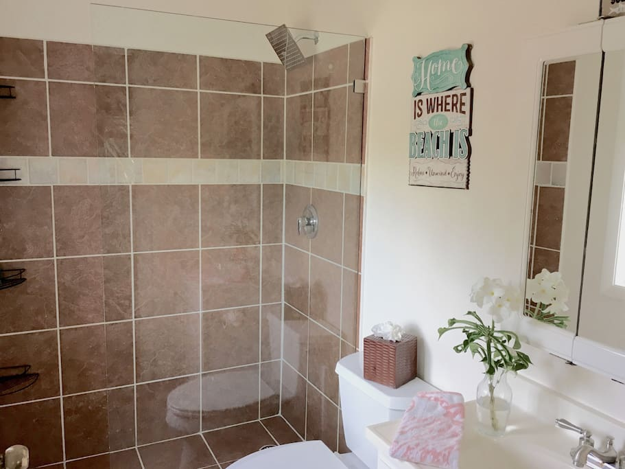 Master Bathroom ensuite with hot and cold walk in shower, bath amenities supplied