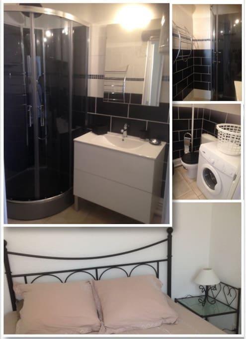 Sale de bain avec douche wc et lave linge