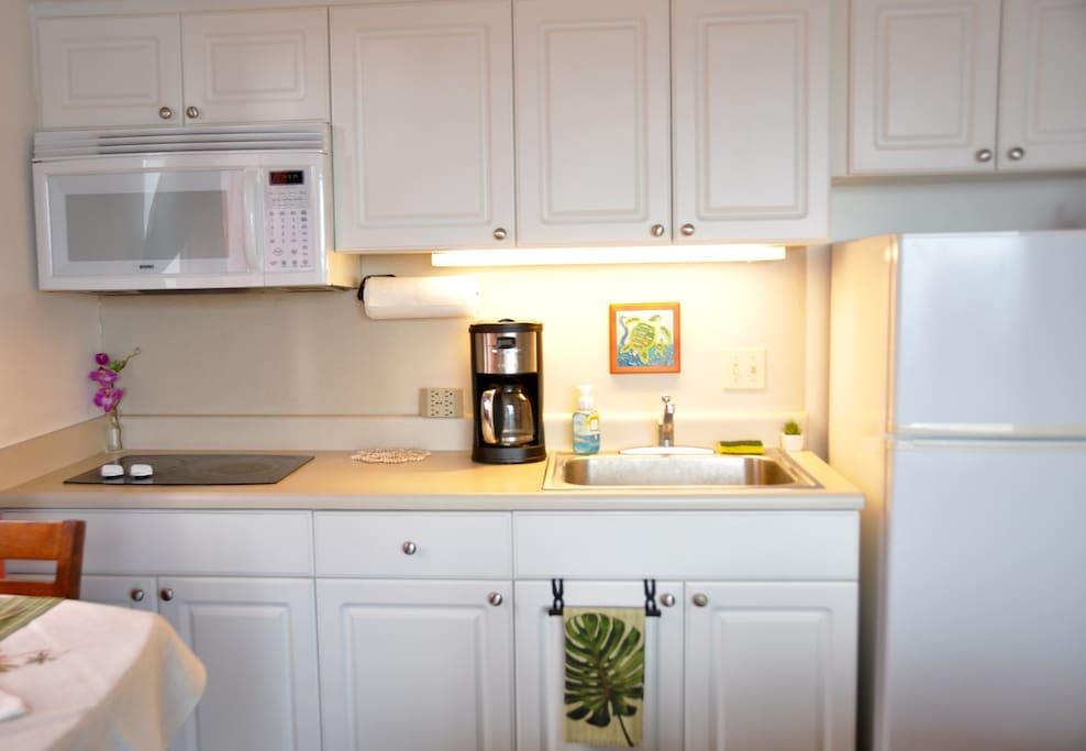 Kitchen area , toast Oven, rice cooker,  pot......