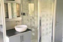 Lavabo et Douche  porte du wc séparé à droite