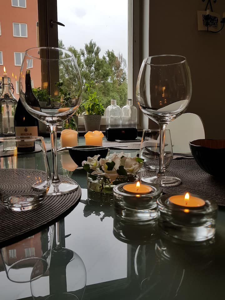 Mysiga 2 rum o kök med balkong
