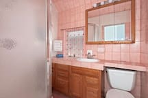 "Our ""Pretty in Pink"" bathroom."