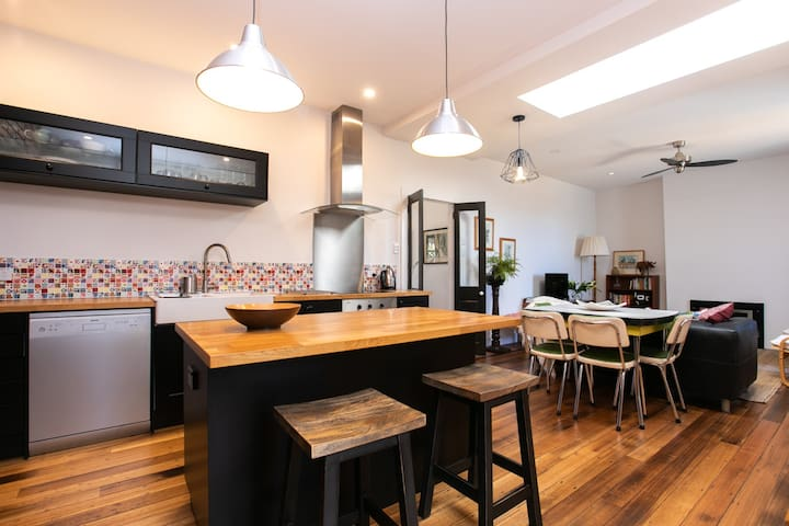 Open plan kitchen dining and living