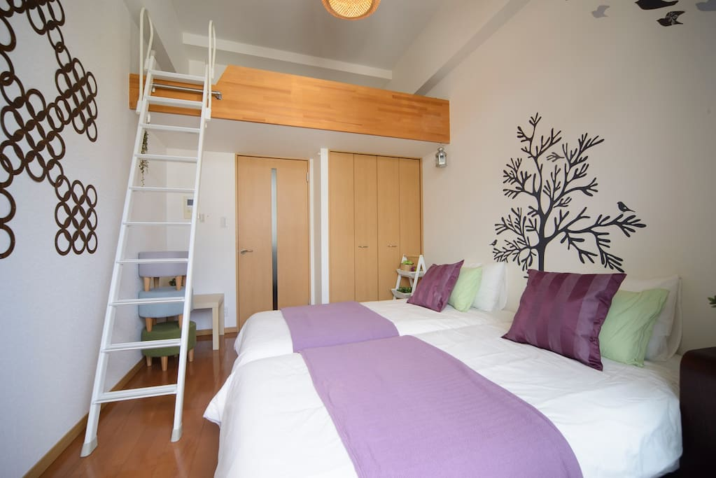 Two sjngle beds and one double bed(loft space) can stay for max 4 person.