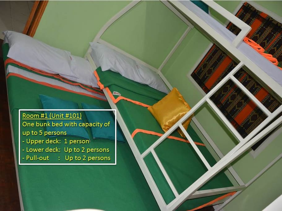 Bedroom #1 (Condo Unit #101) -------------------------------------- Bedroom #1, with one bunk bed, has a capacity of up to five persons: - Upper deck: Sleeps one person - Lower deck: Sleeps up to two persons - Trundle (pull-out): Sleeps up to two persons