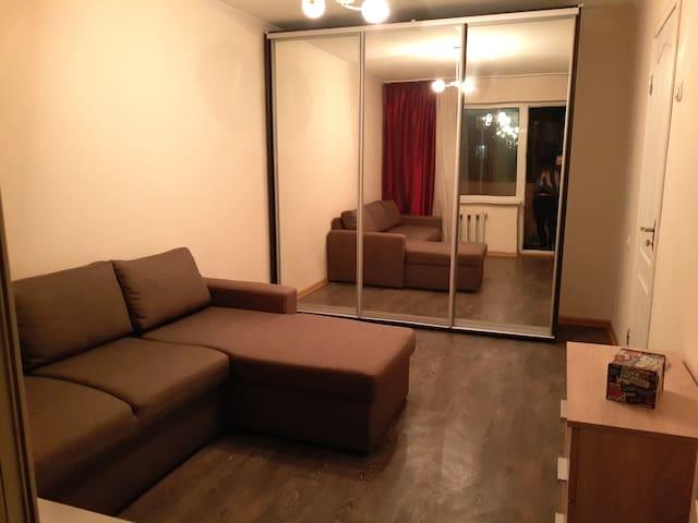 спальня комната ,диван-софа на два гостя 165/200см, большой шкаф-купе 200/180/60см, комод, выход на большей балкон.